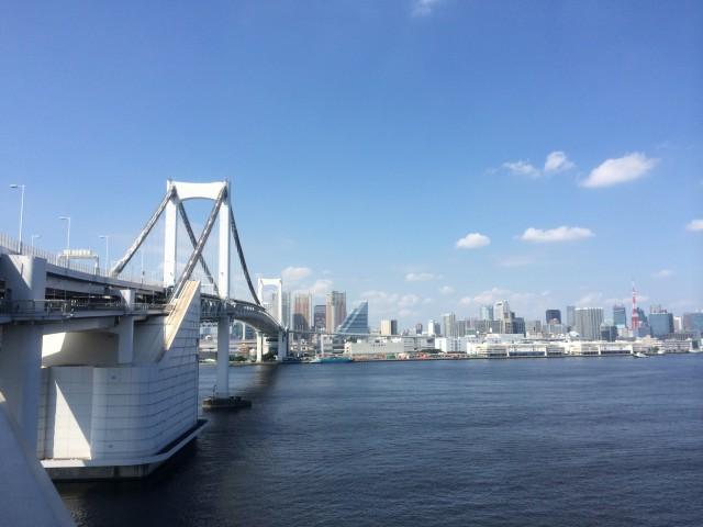 レインボーブリッジの遊歩道から撮った昼間の東京湾
